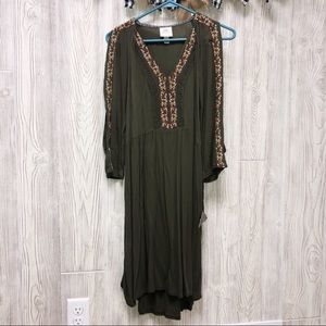 Knox rose open sleeves olive green dress size Xs